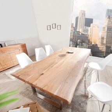 Esstisch AMBA Natur massiv Akazienholz 220cm & 60mm Tischplatte - 1