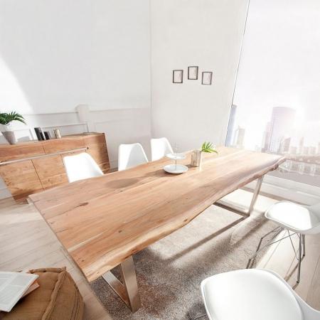 XXL Esstisch AMBA Natur massiv Akazienholz 300cm & 60mm Tischplatte - 1