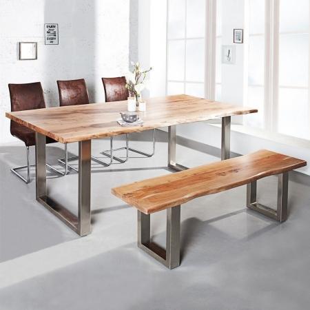 Esstisch AMBA Natur massiv Akazienholz 160cm & 35mm Tischplatte - 1