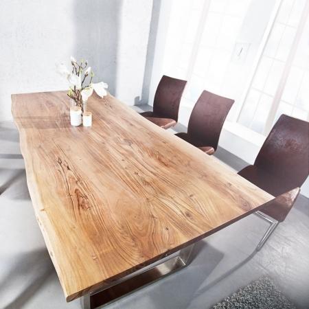 Esstisch AMBA Natur massiv Akazienholz 160cm & 35mm Tischplatte - 2