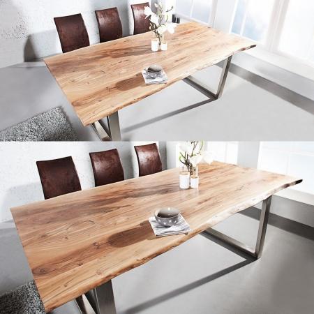 Esstisch AMBA Natur massiv Akazienholz 160cm & 35mm Tischplatte - 3