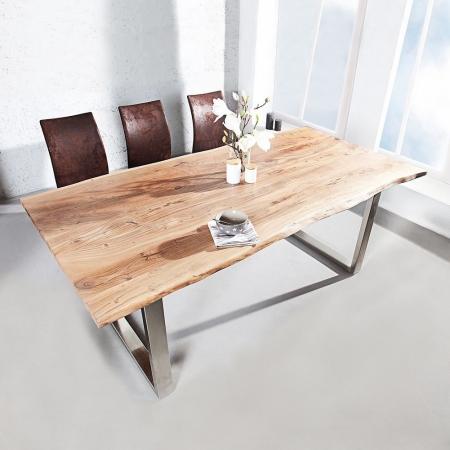 Esstisch AMBA Natur massiv Akazienholz 180cm & 35mm Tischplatte - 1