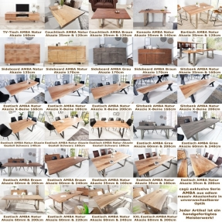 Esstisch AMBA Natur massiv Akazienholz 180cm & 35mm Tischplatte - 4