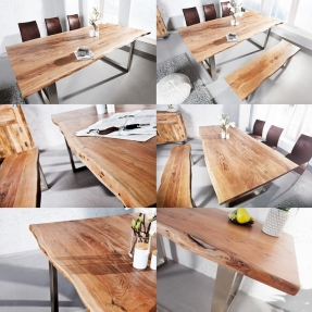 Esstisch AMBA Natur massiv Akazienholz 200cm & 35mm Tischplatte - 3