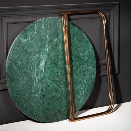 Couchtisch FLORENTIN Grün Marmor mit Gold Gestell 62cm Ø - 3