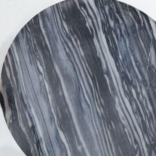 Couchtisch FLORENTIN Grau Marmor mit Silber Gestell 62cm Ø - 3