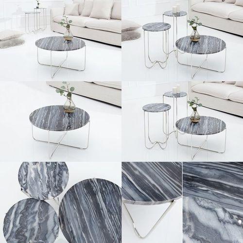 Couchtisch FLORENTIN Grau Marmor mit Silber Gestell 62cm Ø - 4