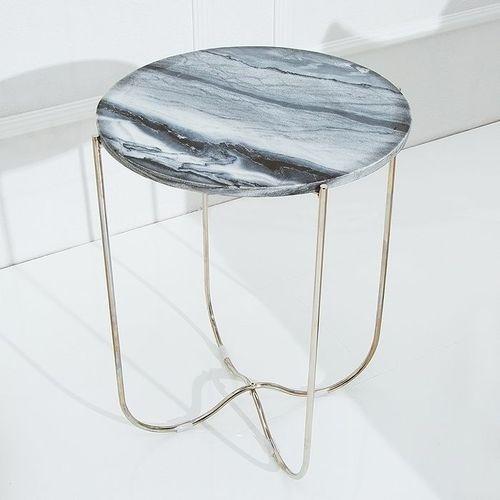 Beistelltisch FLORENTIN Grau Marmor mit Silber Gestell 43cm Ø - 2