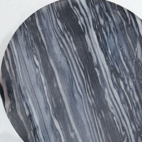 Beistelltisch FLORENTIN Grau Marmor mit Silber Gestell 43cm Ø - 3