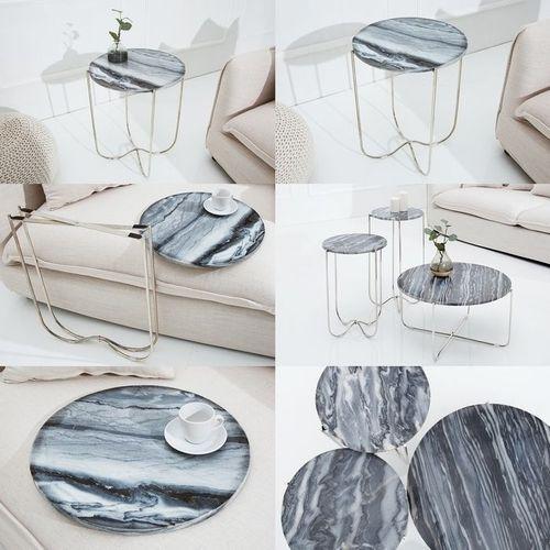 Beistelltisch FLORENTIN Grau Marmor mit Silber Gestell 43cm Ø - 4