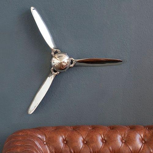 Wanddeko 3er Propellerschraube AEROPLANE Silber aus poliertem Aluminium 60cm - 2