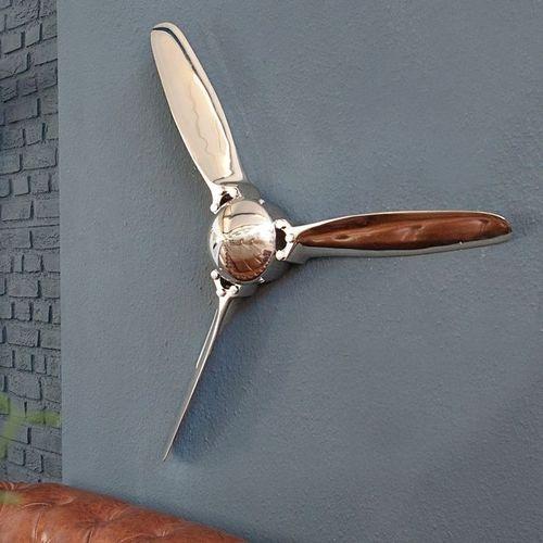 Wanddeko 3er Propellerschraube AEROPLANE Silber aus poliertem Aluminium 60cm - 3