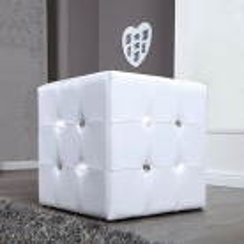 Sitzhocker JOSEPHINA Weiß aus Kunstleder mit Strasssteinen in Barock-Design 40cm - 1