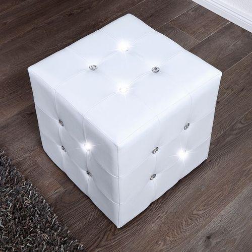 Sitzhocker JOSEPHINA Weiß aus Kunstleder mit Strasssteinen in Barock-Design 40cm - 2