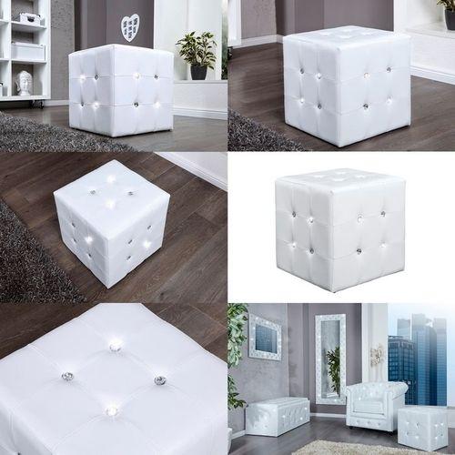 Sitzhocker JOSEPHINA Weiß aus Kunstleder mit Strasssteinen in Barock-Design 40cm - 3
