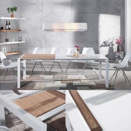 Esstisch TOKYO Weiß Hochglanz & echt Eiche-Furnier 135-175-215cm ausziehbar - 1