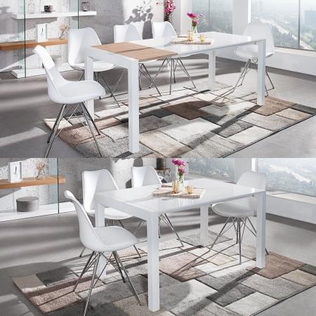 Esstisch TOKYO Weiß Hochglanz & echt Eiche-Furnier 135-175-215cm ausziehbar - 2