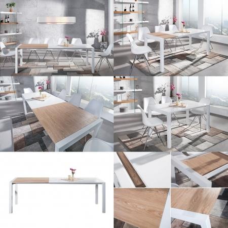 Esstisch TOKYO Weiß Hochglanz & echt Eiche-Furnier 135-175-215cm ausziehbar - 3