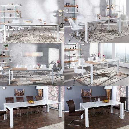 Esstisch TOKYO Weiß Hochglanz & echt Eiche-Furnier 135-175-215cm ausziehbar - 4