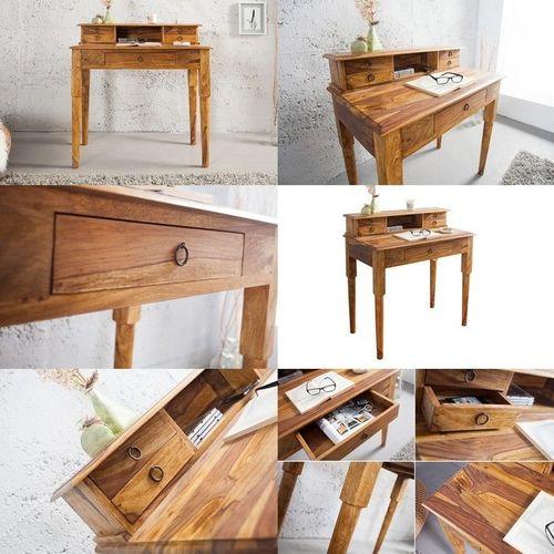 Sekretär & Schreibtisch SATNA Sheesham massiv Holz gewachst 90cm x 50cm - 3