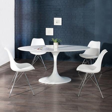 Retro Stuhl GÖTEBORG Weiß & Chromgestell im skandinavischen Stil - 2
