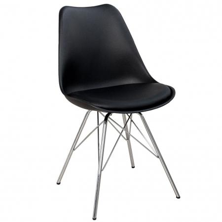 Retro Stuhl GÖTEBORG Schwarz & Chromgestell im skandinavischen Stil - 3
