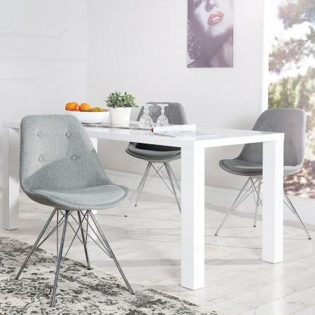 Retro Stuhl GÖTEBORG Grau mit Knöpfen Strukturstoff & Chromgestell im skandinavischen Stil - 1
