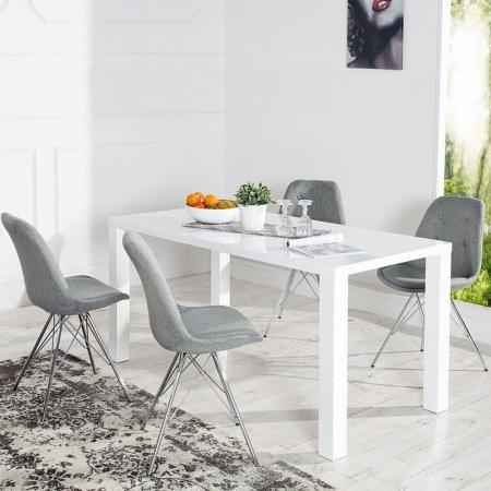 Retro Stuhl GÖTEBORG Grau mit Knöpfen Strukturstoff & Chromgestell im skandinavischen Stil - 2