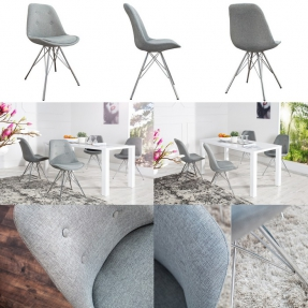 Retro Stuhl GÖTEBORG Grau mit Knöpfen Strukturstoff & Chromgestell im skandinavischen Stil - 3