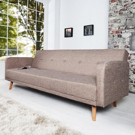 Retro Schlafsofa GÖTEBORG Beige 210cm im skandinavischen Stil - 1