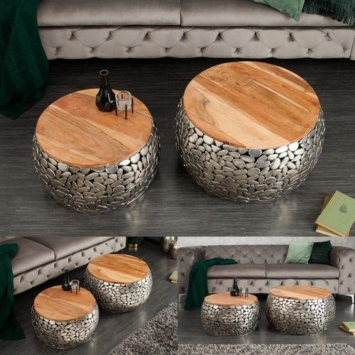 2er Set Couchtische RAVENNA Silber aus Mangoholz mit Metallplättchen im Mosaik-Design handgefertigt 65cm/55cm Ø - 1