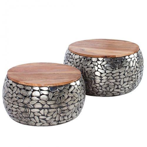 2er Set Couchtische RAVENNA Silber aus Mangoholz mit Metallplättchen im Mosaik-Design handgefertigt 65cm/55cm Ø - 2
