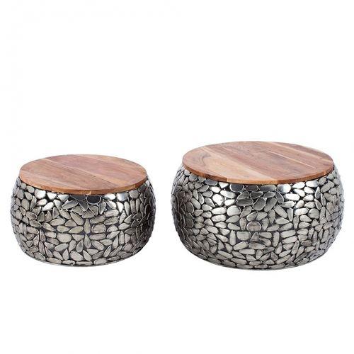 2er Set Couchtische RAVENNA Silber aus Mangoholz mit Metallplättchen im Mosaik-Design handgefertigt 65cm/55cm Ø - 3