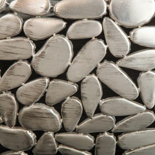 2er Set Couchtische RAVENNA Silber aus Mangoholz mit Metallplättchen im Mosaik-Design handgefertigt 65cm/55cm Ø - 4