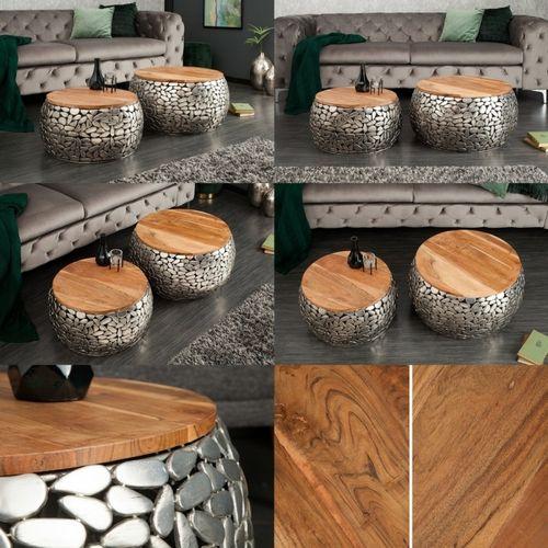 2er Set Couchtische RAVENNA Silber aus Mangoholz mit Metallplättchen im Mosaik-Design handgefertigt 65cm/55cm Ø - 5