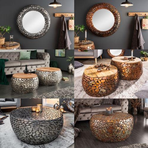 2er Set Couchtische RAVENNA Silber aus Mangoholz mit Metallplättchen im Mosaik-Design handgefertigt 65cm/55cm Ø - 6