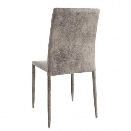 Stuhl BOSTON Antik-Grau aus Microfaser mit Ziernaht - Komplett montiert! - 2