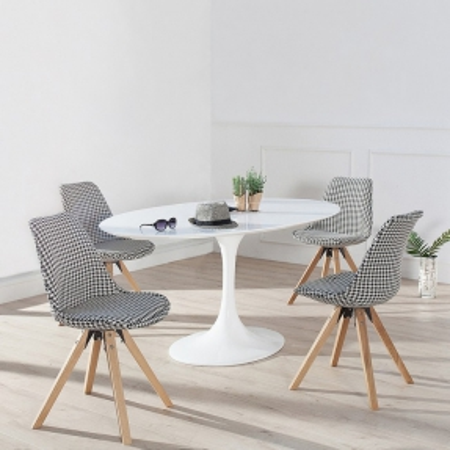 Retro Stuhl GÖTEBORG Hahnentritt-Eiche Strukturstoff im skandinavischen Stil - 1