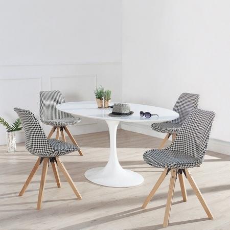 Retro Stuhl GÖTEBORG Hahnentritt-Eiche Strukturstoff im skandinavischen Stil - 2