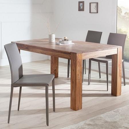 Stuhl BOSTON Grau aus Echtleder mit Ziernaht - Komplett montiert! - 1