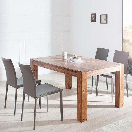Stuhl BOSTON Grau aus Echtleder mit Ziernaht - Komplett montiert! - 2