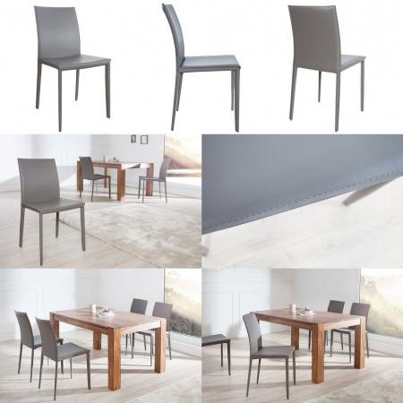 Stuhl BOSTON Grau aus Echtleder mit Ziernaht - Komplett montiert! - 3