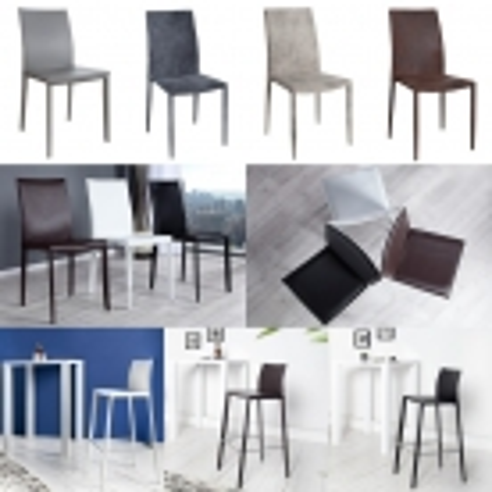 Stuhl BOSTON Grau aus Echtleder mit Ziernaht - Komplett montiert! - 4