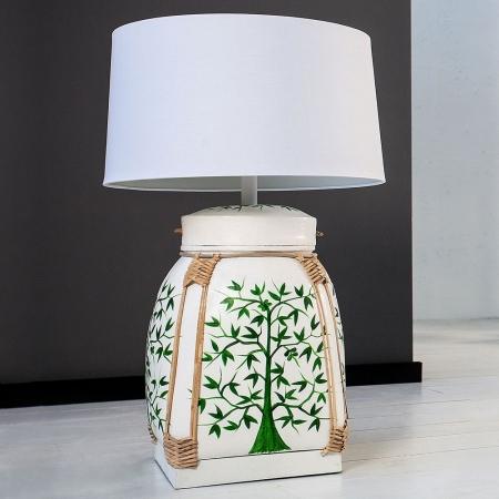 XL Tischlampe MING Weiß mit handbemaltem Baummotiv aus Bambusholz 75cm Höhe - 1