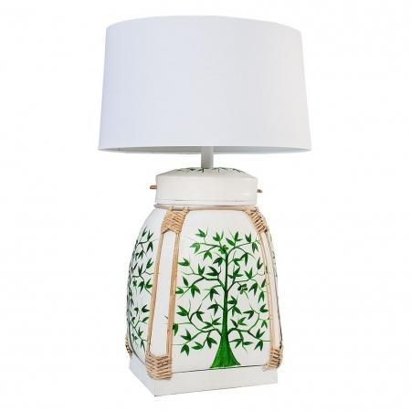XL Tischlampe MING Weiß mit handbemaltem Baummotiv aus Bambusholz 75cm Höhe - 2