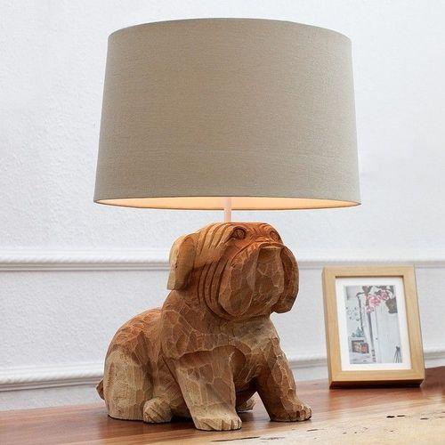 Handgeschnitzte Tischlampe Hund Bulldogge RANDY Weiß aus Walnuß Massivholz 50cm Höhe - 1