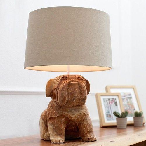 Handgeschnitzte Tischlampe Hund Bulldogge RANDY Weiß aus Walnuß Massivholz 50cm Höhe - 2