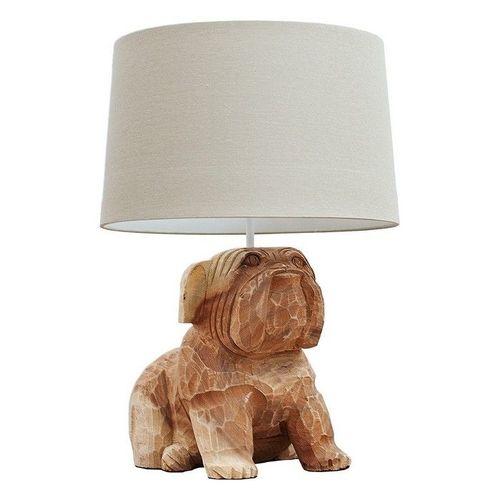 Handgeschnitzte Tischlampe Hund Bulldogge RANDY Weiß aus Walnuß Massivholz 50cm Höhe - 3