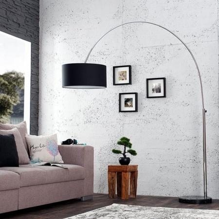 XL Bogenlampe SONOR Schwarz mit Marmorfuß Schwarz 170-200cm Höhe - 1