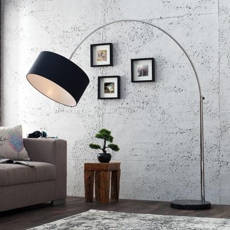 XL Bogenlampe SONOR Schwarz mit Marmorfuß Schwarz 170-200cm Höhe - 2